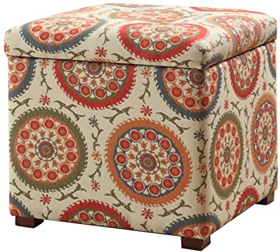 """HomePop Square Upholstered Storage Ottoman with Removable Top, 17.50"""" x 17.50"""" x 17.50"""", Herringbone"""