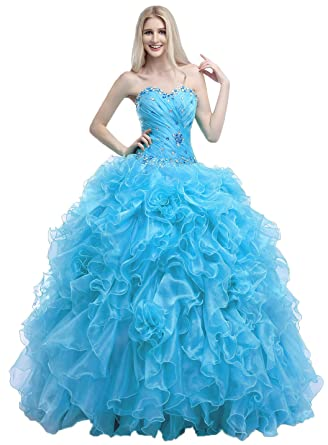 Okaybrial Womens Strapless Dresses for Quinceanera Organza Ruffle Pleated Crystal Cheap Prom Gowns