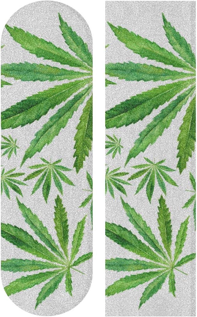 N\A 33.1x9.1inch Sport Skateboards al Aire Libre Cinta de Agarre Cannabis Marihuana Hojas Cinta de Agarre a Prueba de Agua con Estampado Vintage para Tabla de Baile Plataforma de Tablero de Bala