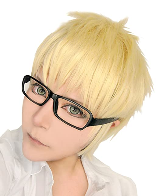 9aa01f49854 Amazon.com  Cfalaicos Haikyuu Tsukishima Kei Volleyball Anime Cosplay Wig  Short 30cm12