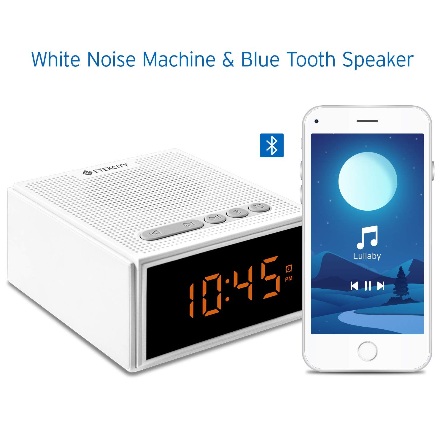 White Noise Machine with Bluetooth Speaker LCD Digital Clock, Timer & Memory Function, Portable Rechargeable Sound Machine for Sleeping Baby, Office Privacy, or Travel, 2 Year Warranty by Etekcity