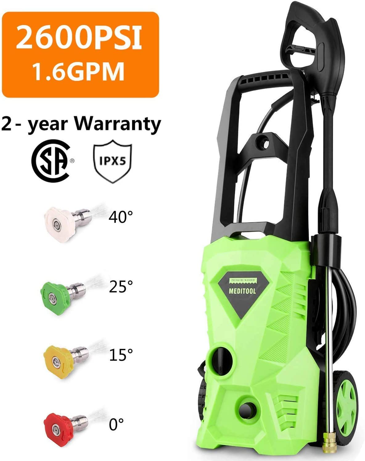 Homdox 2600 PSI Power Pressure Washer 1600W Electric Pressure Washer 1.6GPM High Pressure Power Washer with Power Hose Gun 4 Nozzle