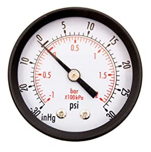 "DuraChoice 2"" Dial Utility Vacuum Pressure Gauge for Air Compressor Water Oil Gas, 1/4"" NPT Center Back Mount, Black Steel Case, 30HG/30PSI"