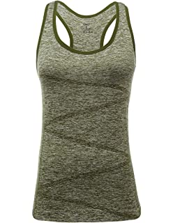 7c628872ab DISBEST Yoga Tank Top, Women's Performance Stretchy Quick Dry Sports  Workout Running Top Vest with