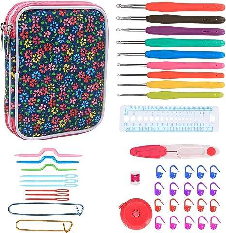 Teamoy Serie de Crochet Kits de Ganchillo Estuche para Crochet Organizador de Agujas Bolsa de Herramientas Juego del Ganchos (incluido accesorios),flor azul: Amazon.es: Hogar