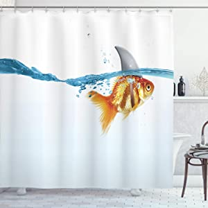 """Ambesonne Shark Shower Curtain, Goldfish in Water with Shark Fin Scary Predators Tricky Humor Environment Fun Image, Cloth Fabric Bathroom Decor Set with Hooks, 70"""" Long, Orange Blue"""