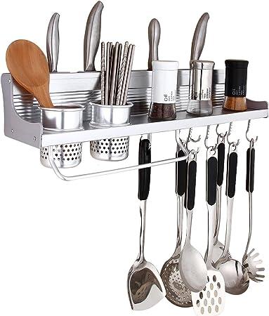 Pared Pot Rack, haoweiming colgar en la pared estante 23 cm cocina cocina organizador con 10 (