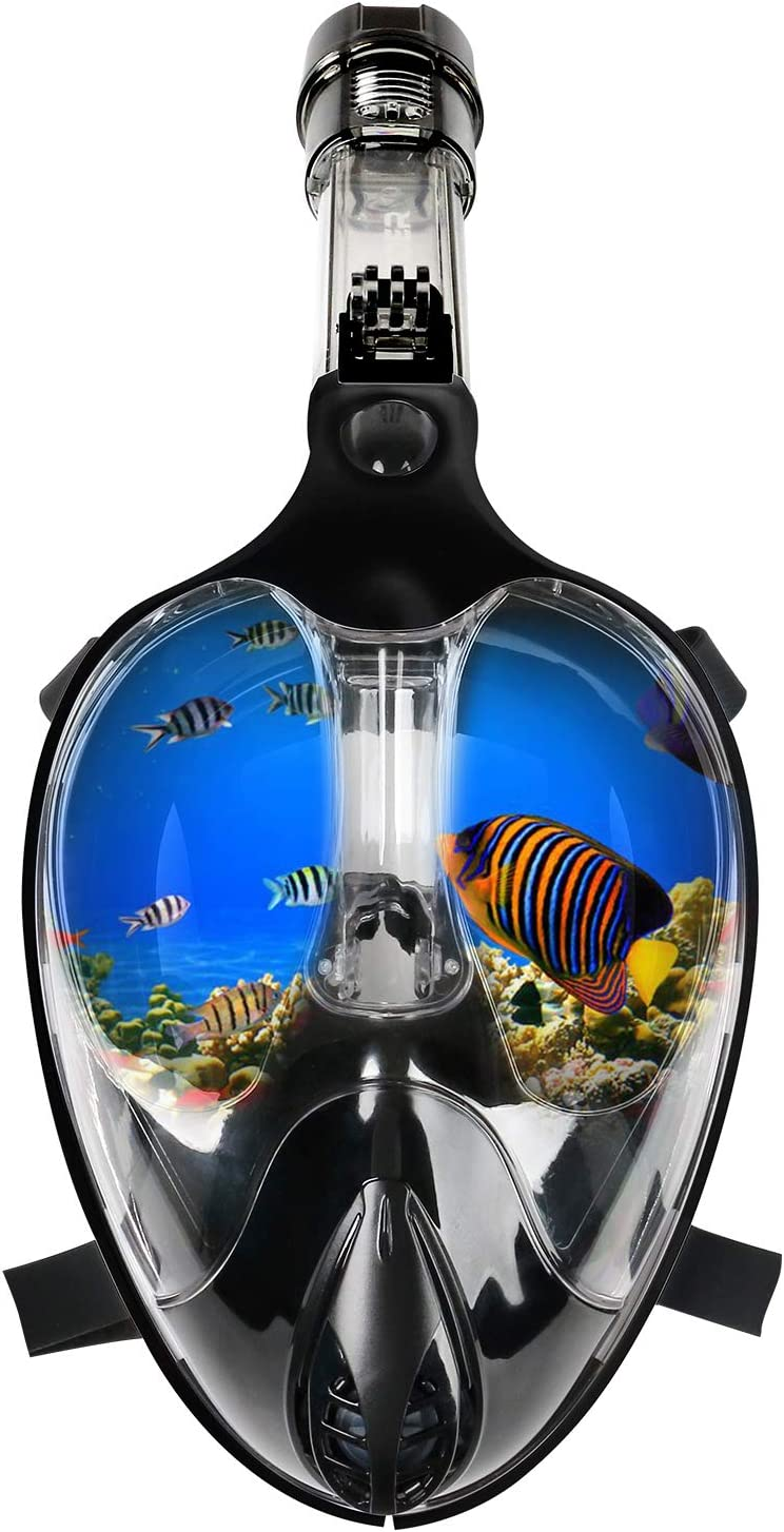 180 Panoramic Anti-Fog Anti-Leak Diving Mask with Safety Breathing System for Adult and Kids Thirty seven DAYS Full Face Snorkel Mask with Detachable Camera Mount