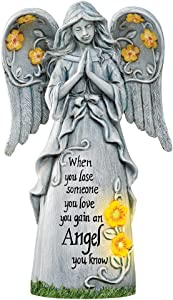 Collections Etc Solar Powered Angel Memorial Statue for Home Garden, Stone Look, When You Loose Someone You Love, You Gain an Angel You Know