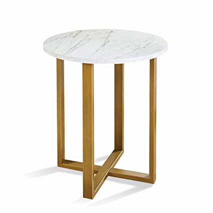 Amazon Com Contemporary Modern Glam Faux Marble Top Gold Metallic