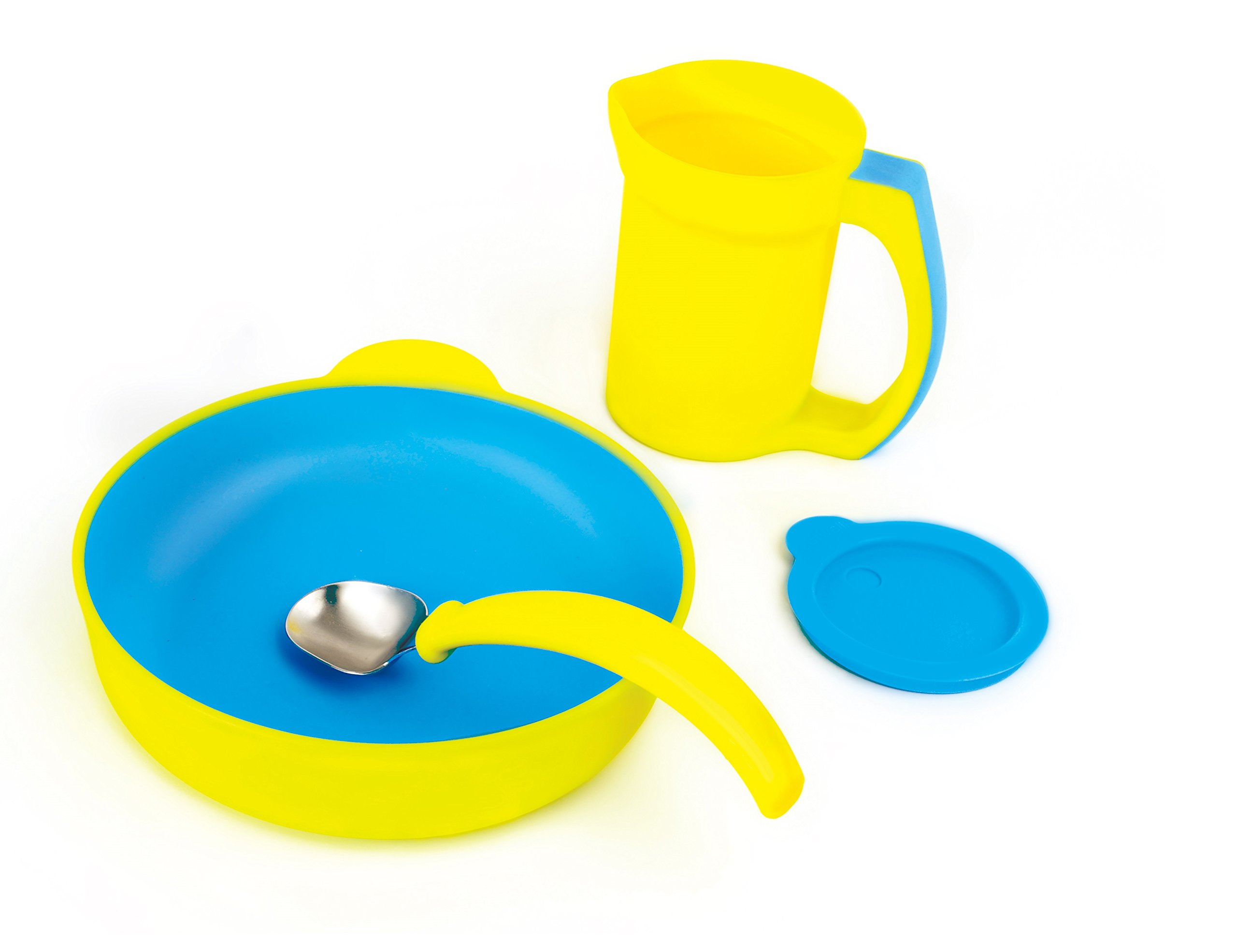 Sha Design Eatwell Assistive Tableware Set, Yellow, 4 Piece
