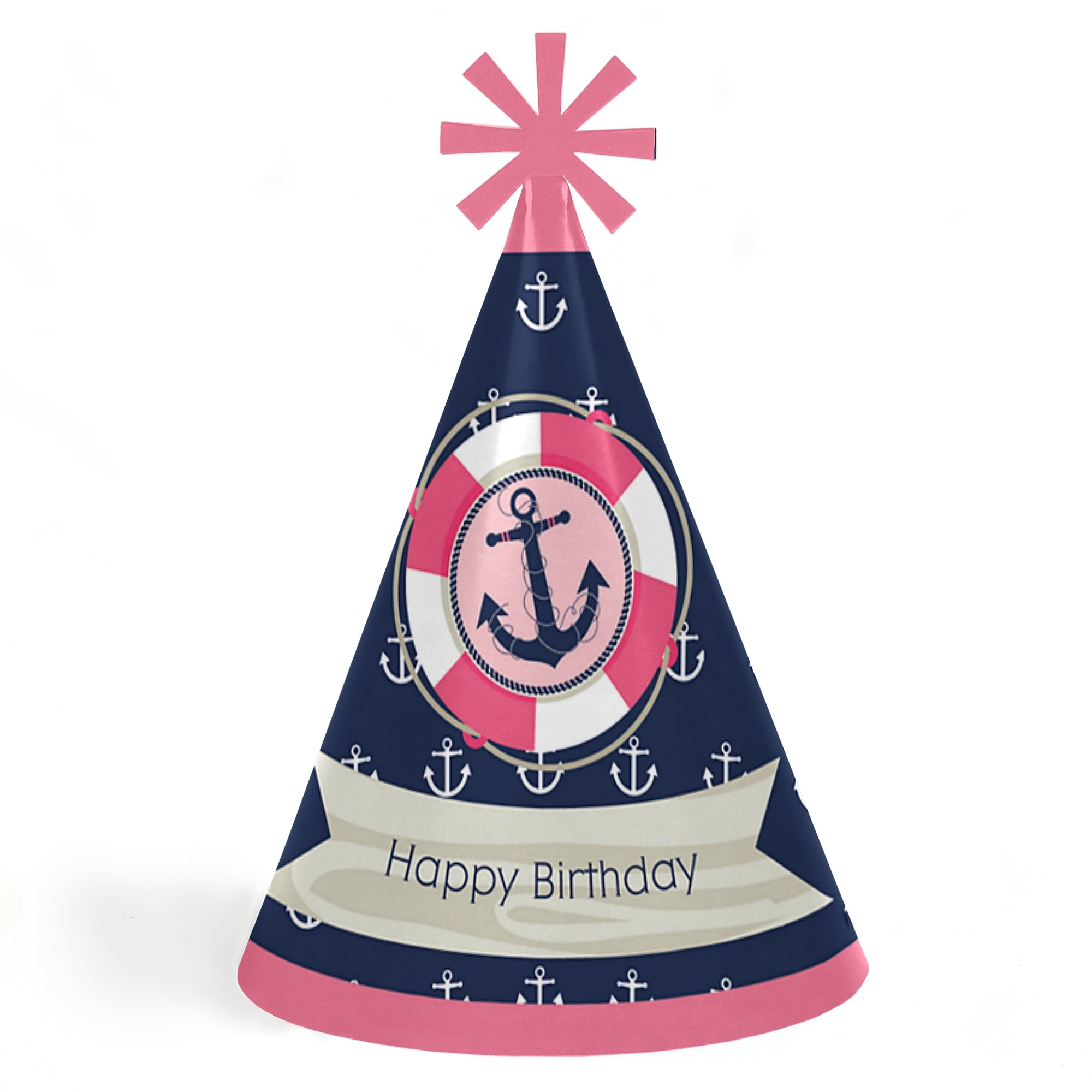 Big Dot of Happiness Ahoy - Nautical Girl - Cone Happy Birthday Party Hats for Kids and Adults - Set of 8 (Standard Size)