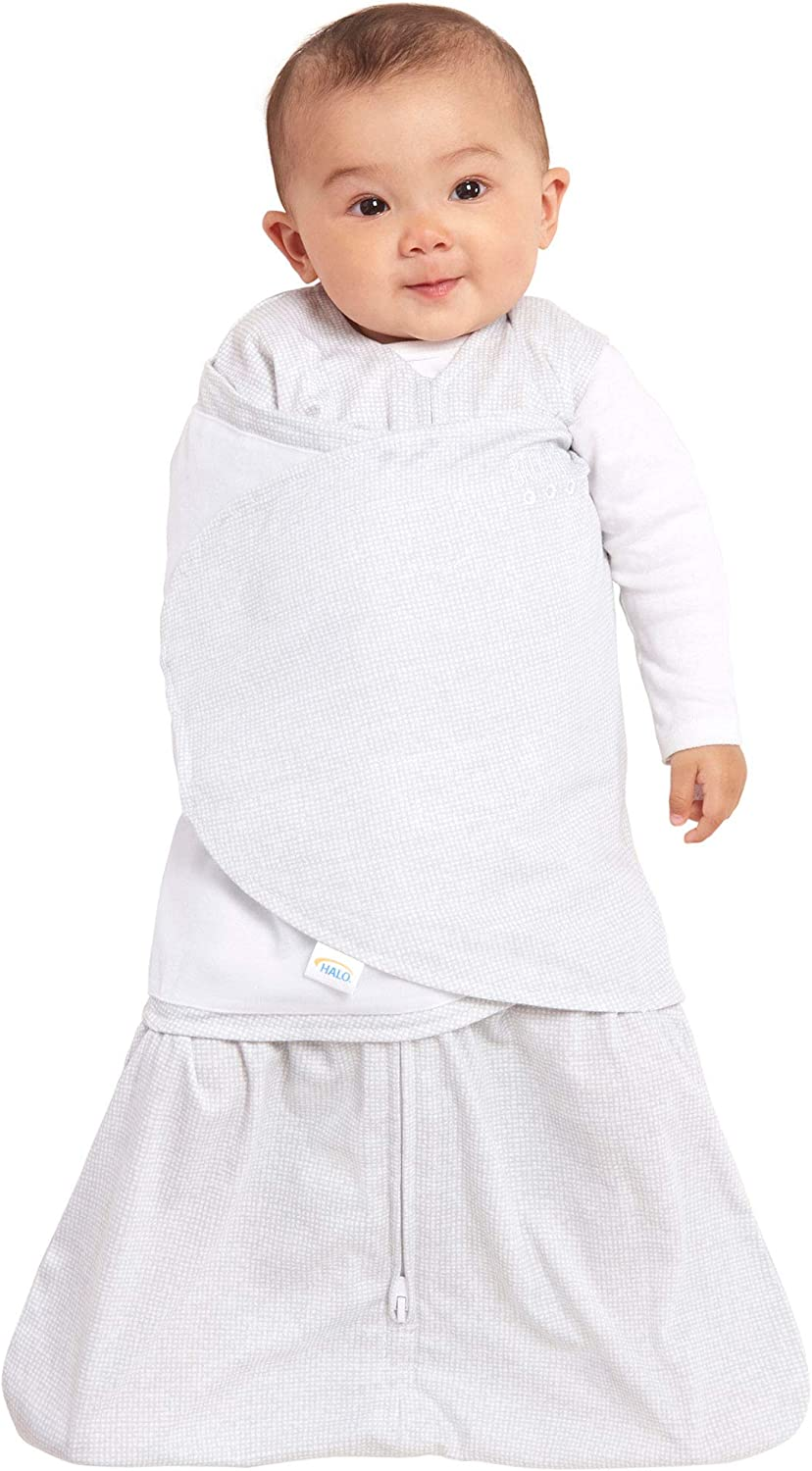 Halo Safe Dreams Poly Knit Swaddle Wearable Blanket Grey Tidbit Square Small