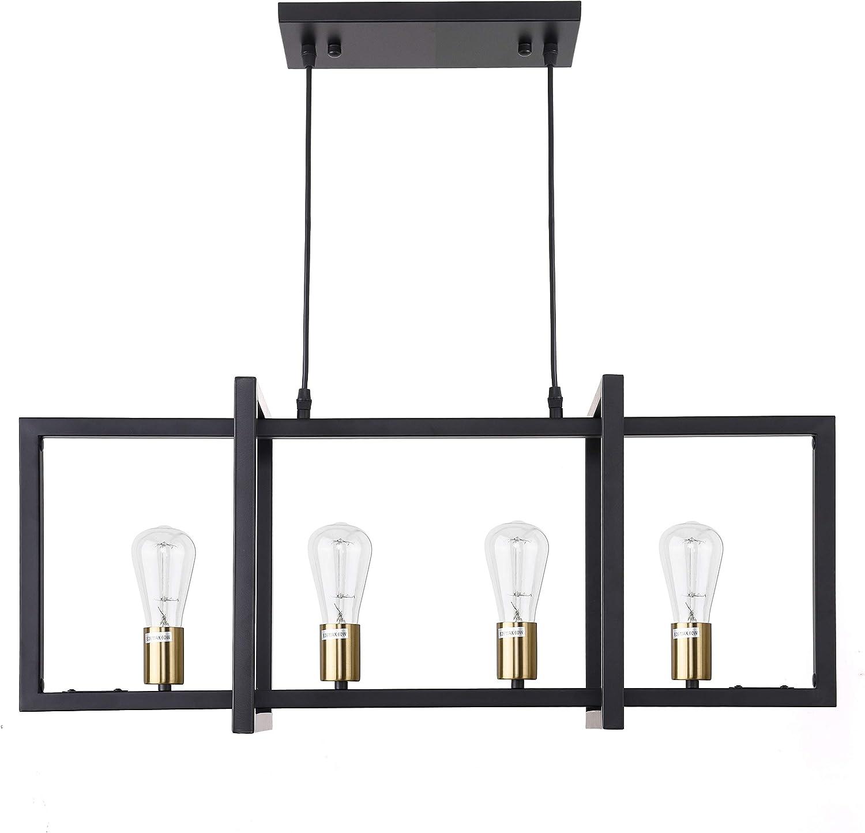 ISRAMP Kitchen Island Light, 4 Lights Rectangular Linear Pendant Ceiling Hanging Light Fixture, Modern Farmhouse Metal Black Matte Frame with Antique Brass Sockets