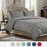 "Duvet Cover Set with Zipper Closure-Grey Diamond Pattern, Full/Queen (86""x96"")-3 Piece (1 Duvet Cover + 2 Pillow Shams)-110 gsm Ultra Soft Hypoallergenic Microfiber by Bedsure"