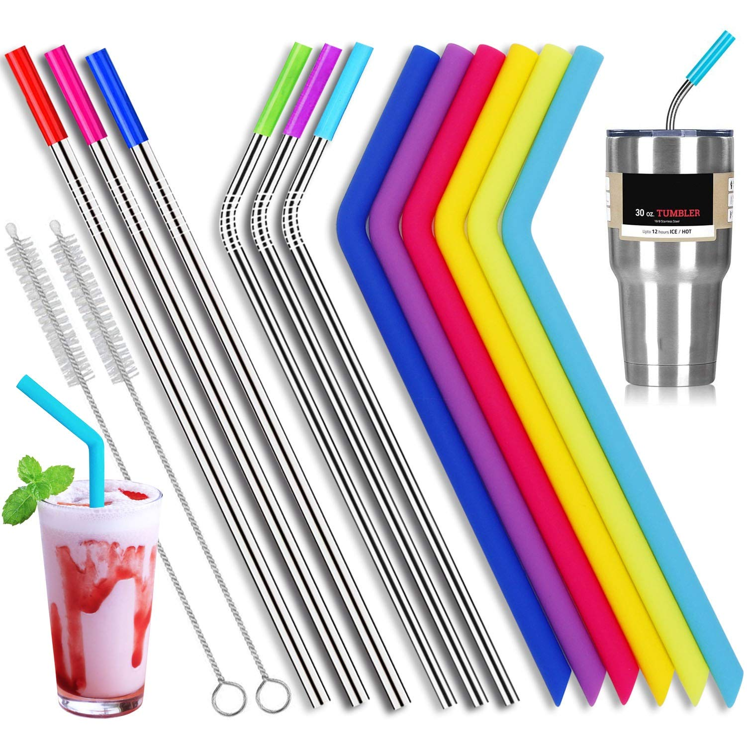 6 Stainless Steel Straws and 6 Silicone Straws with 2 Cleaning Brushes, Reusable Silicone and Metal Drinking Straws for 20oz 30oz Stainless Tumbler Yeti Rambler Rtic Ozark Trail Complete Bundle