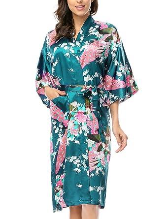 BELLOO Damen Satin Bademantel Sommer Lang Morgenmantel Kimono Silk ...