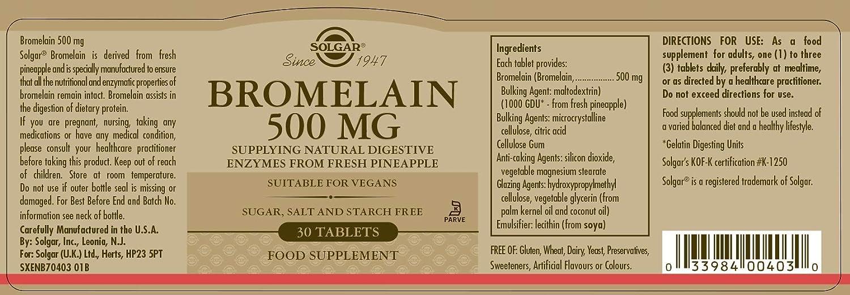 Solgar Bromelaína Comprimidos de 500 mg - Envase de 30 ...