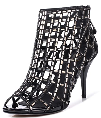 a9e93adbec5 LizForm Women Cutout Sandal Boots Open Toe Stiletto Sandals Back Zipper  Dress Shoes High Heels Boots