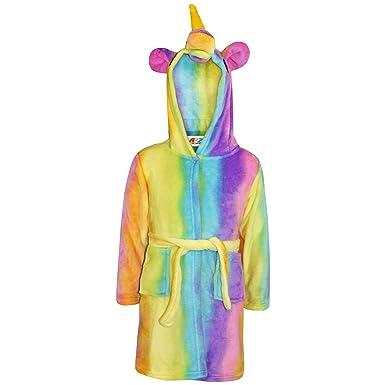 8d575d50e Amazon.com: Girls Bathrobe 3D Animal Unicorn Rainbow Dressing Gown Fleece  Night Loungewear: Clothing