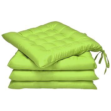 Beautissu Set 4 Lea - comodísimos Cojines para sillas - Vivienda o terraza - 40 x 40 x 5 cm - Verde Manzana