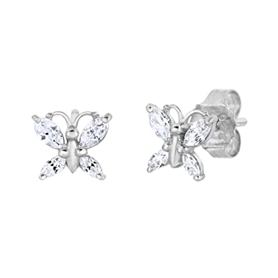 3571aa826 925 Sterling Silver Cubic Zirconia Small Butterflies Earrings Modeschmuck