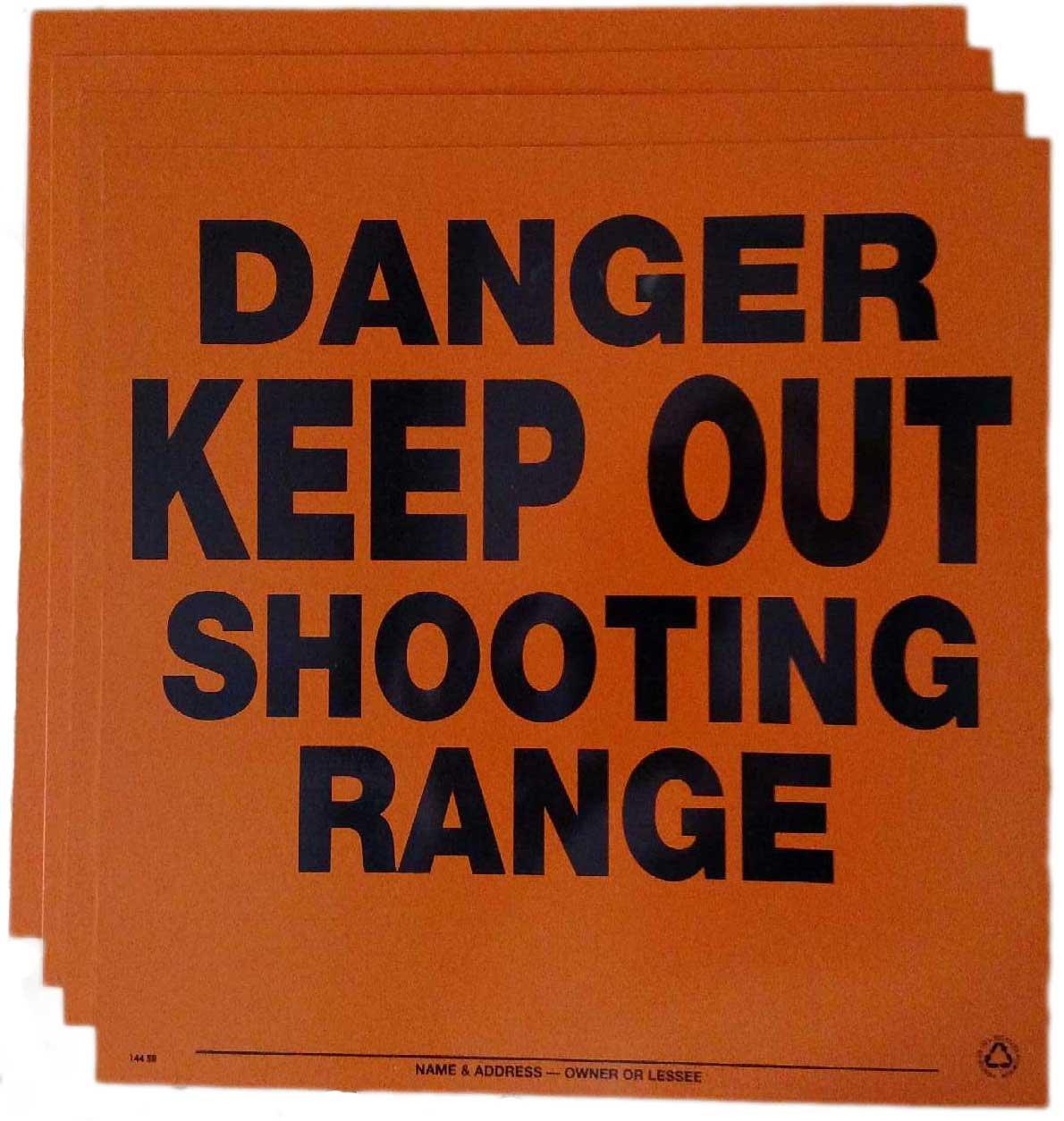Aluminum Danger Keep Out Shooting Range Sign x50 (Orange)