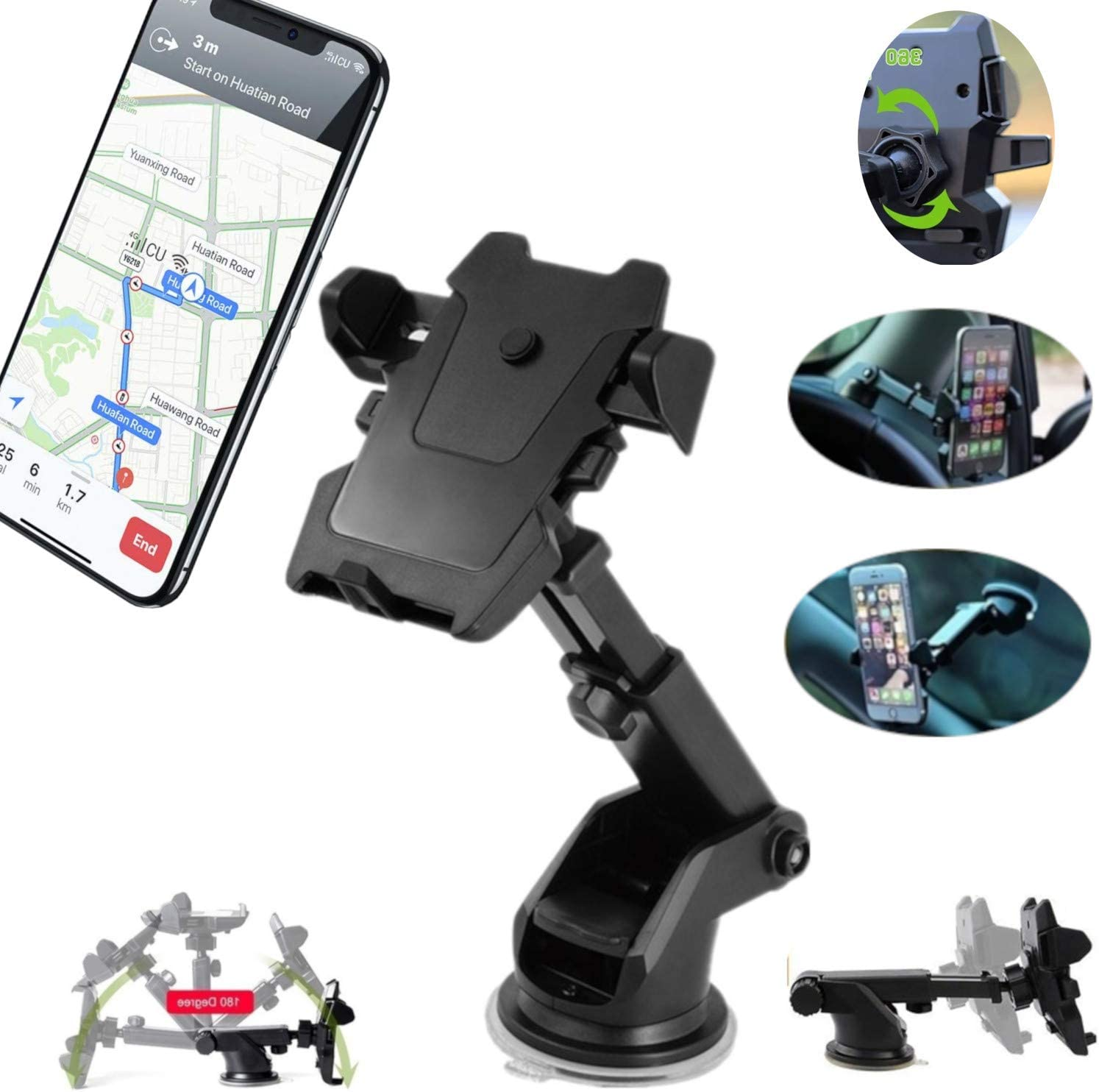 Phone Holder ONE Touch Phone Mount 360 Degree Universal Phone Holder Super Strong Suction CAR Dashboard Windshield Cell Phone Holder Compatible with Most Phone