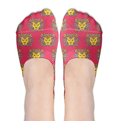 LINSHANGYI Leo Tribal Lion Girl Cute No-Show Boat Socks Athletic Low Cut Stockings