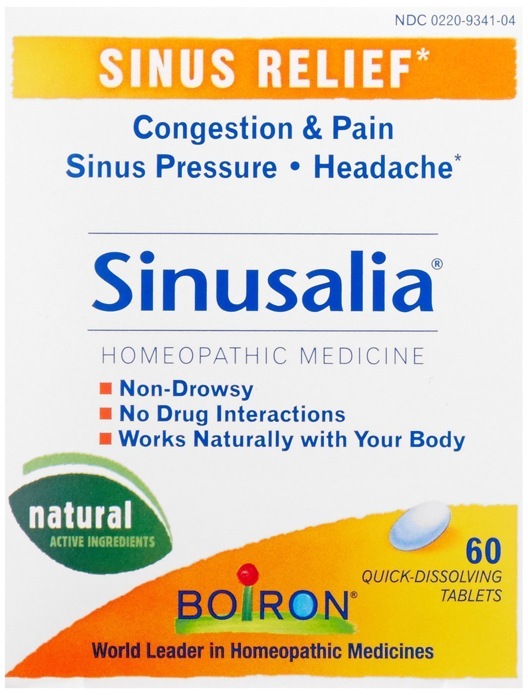 Boiron Sinusalia for Sinuses, 60 Tablets (Pack of 3)