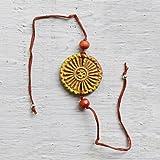 Raksha Bandhan Rakhi Handmade with Clay and Floral Essence Omkara Satin Thread with Greeting Card