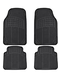 BDK All Weather Rubber Floor Mats for Car SUV & Truck - 4 Pieces Set , Trimmable, Heavy Duty Protection