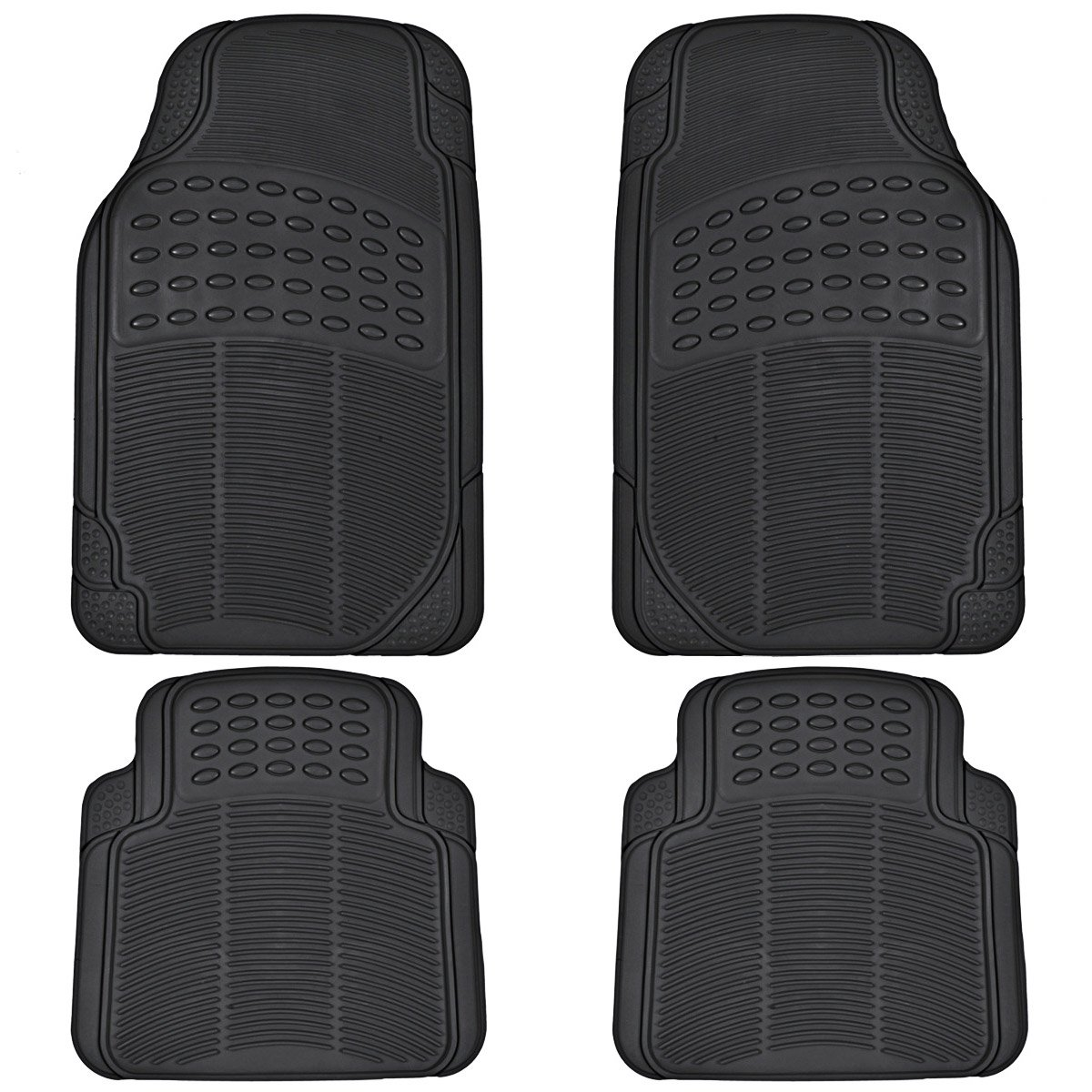 Suv Floor Mats >> Bdk All Weather Rubber Floor Mats For Car Suv Truck 4 Pieces Set Front Rear Trimmable Heavy Duty Protection Black Mt 654 Bk Aces