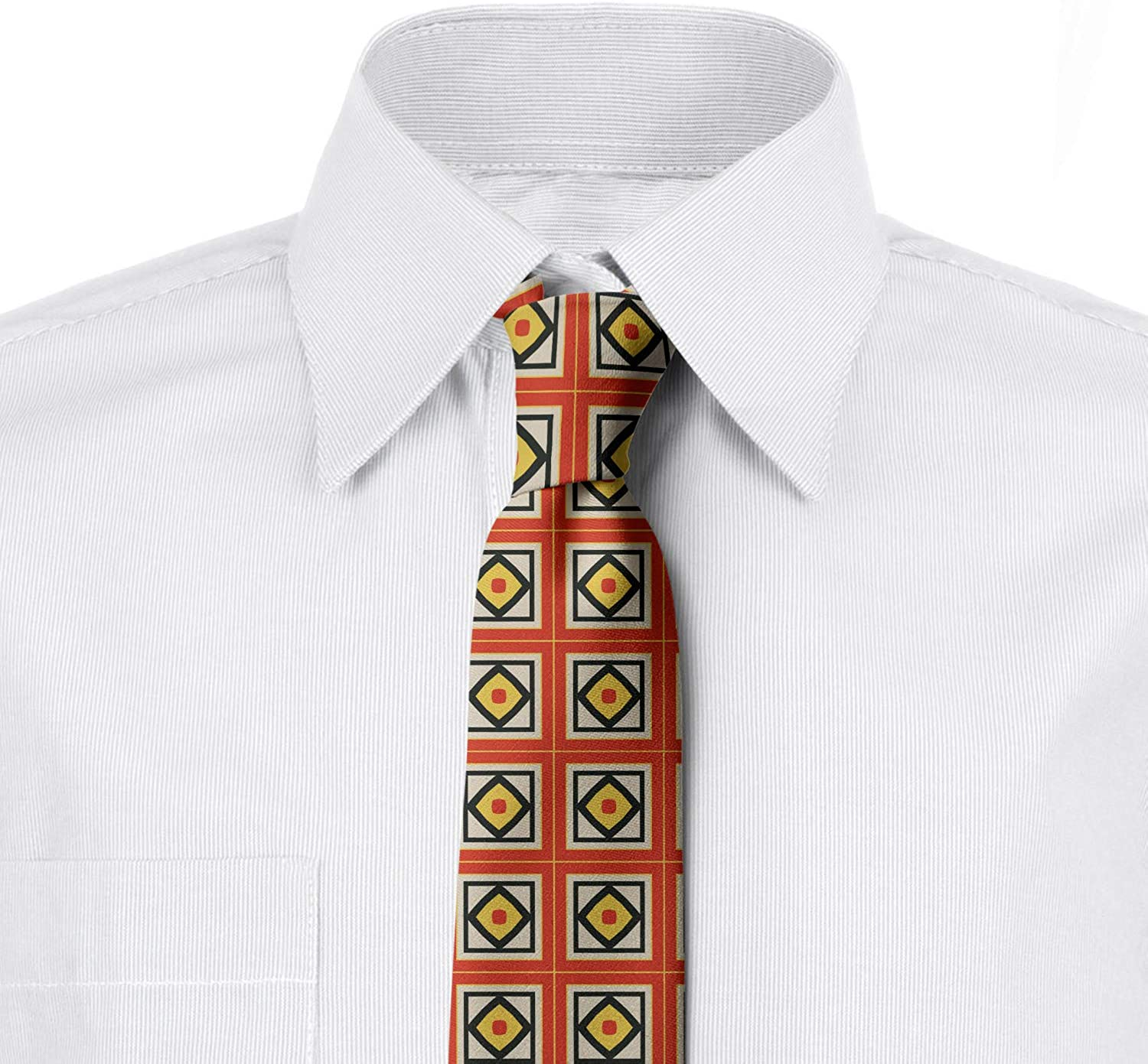 3.7 Burnt Sienna Mustard Intricate Squares Vertical and Diagonal Ambesonne Abstract Necktie