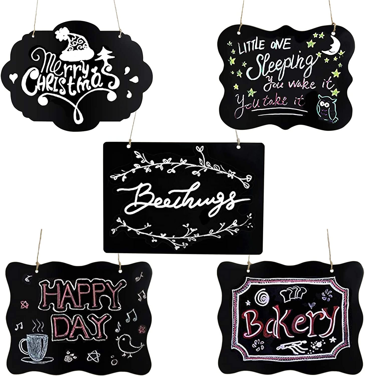 Suitable for Kids Doodling SmartUlife 5 Pack Hanging Chalkboard Sign Message Board with Hanging String Double-Sided Wooden Message Board