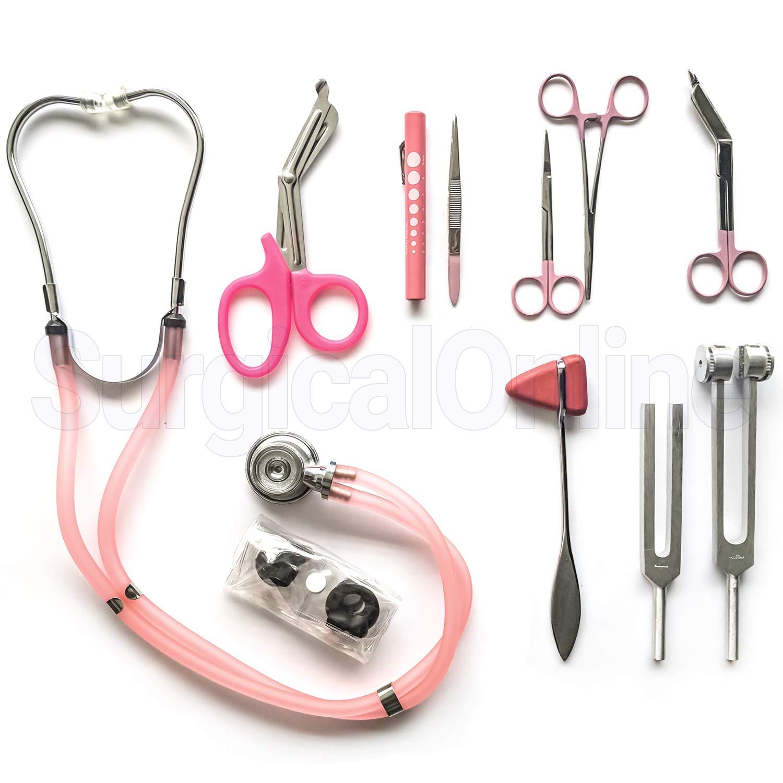 9 Piece Medical Diagnostic Kit in Pink Ideal for EMT, Nursing, Surgical, EMS and Medical Student (Pink)