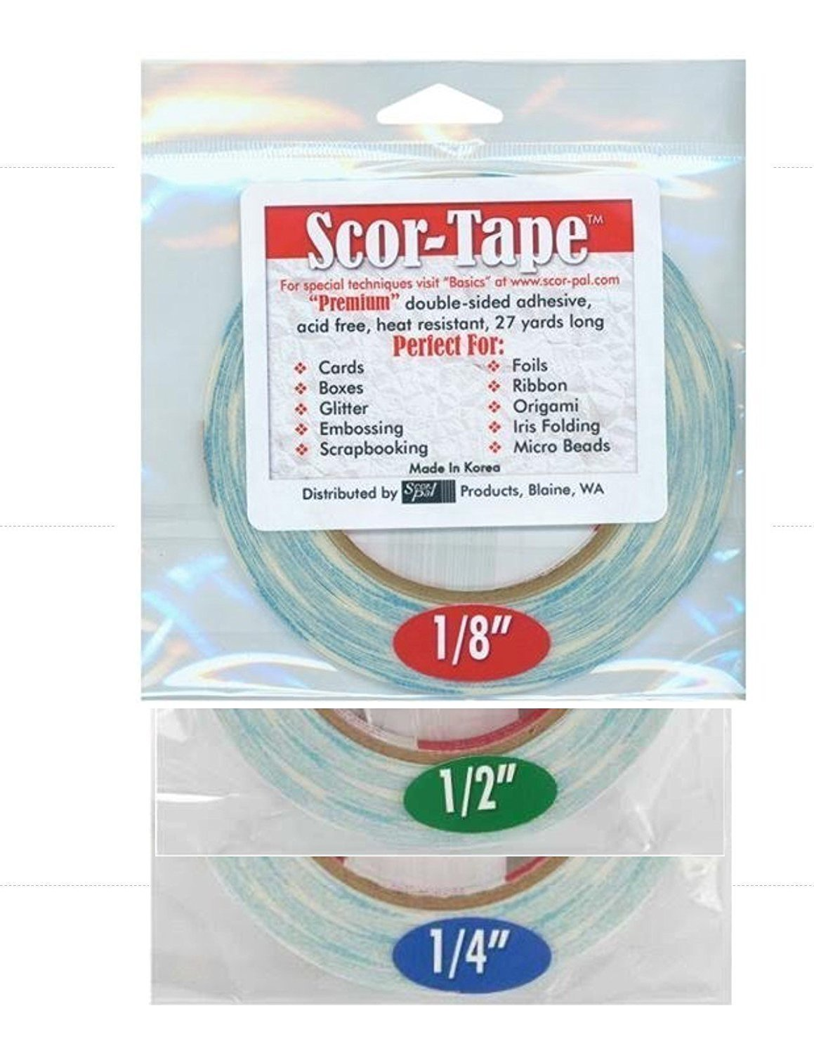 Scor-Tape Bundle 1 each of 1/8', 1/4', 1/2', by 27 Yards (201, 202, 203) Double Sided Adhesive 1/4' 1/2' Scor-Pal 201-202-203