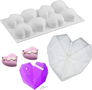 RONRONS 2 Pieces Food Grade Silicone Cake Mold Set, 8-Cavity Love Heart Shape Mousse Chocolate Molds with Unique Diamond Heart baking Cupcake Mould DIY Exquisite Kitchen Tools