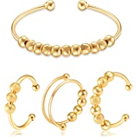 4PCS Anxiety Fidget Rings Bracelet Necklace Set Stackable Open Spinner Rings Inspirations Anxiety Beads Worry Bracelet…