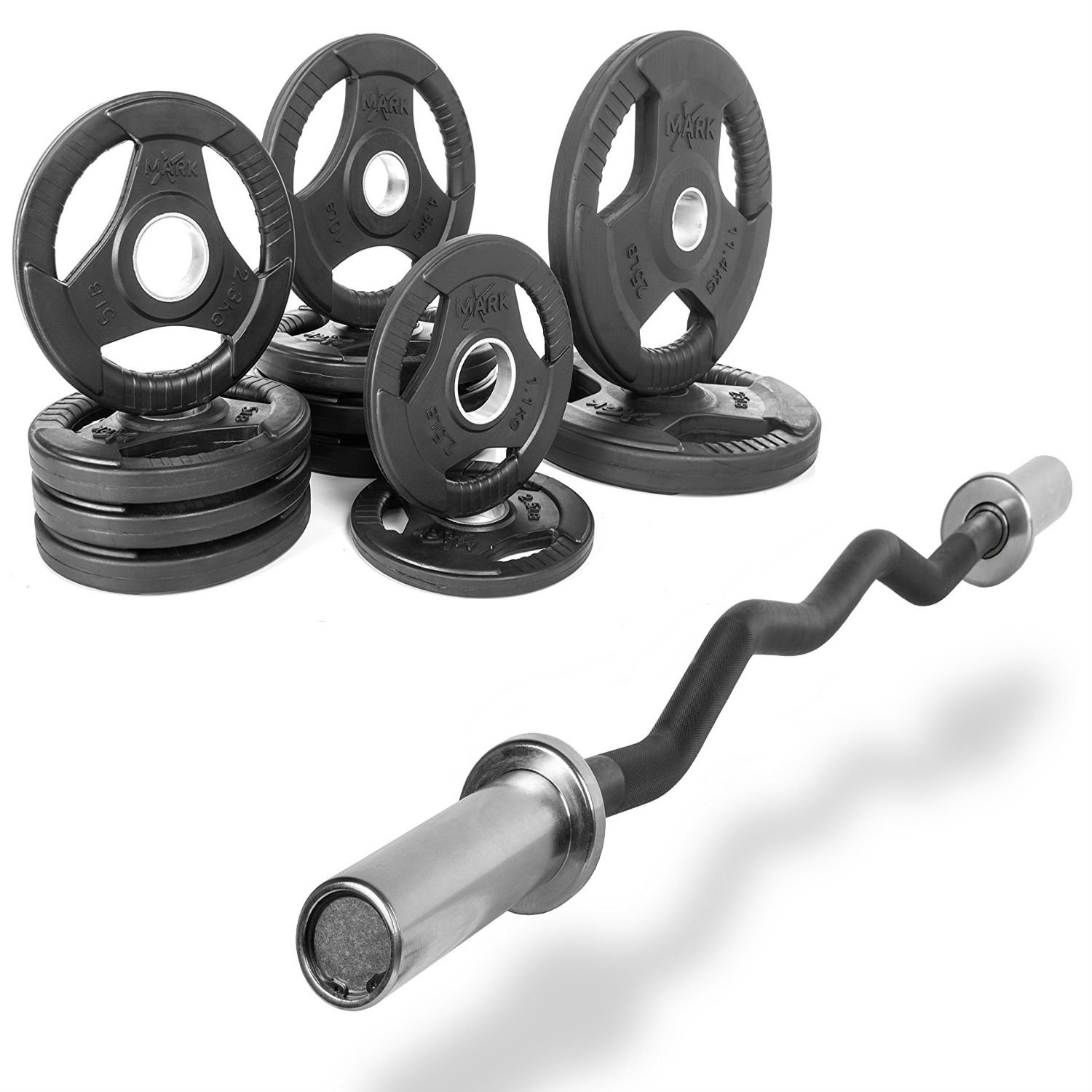 XMark Fitness Combo Offer 47'' Olympic EZ Curl Excercise Bar with Premium Quality Rubber Coated Tri-Grip Olympic Plate Weight Package (XM3670.1BLACK-XM3377BAL115)