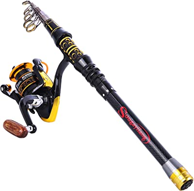 Sougayilang Fishing Rod Reel Combos Telescopic Fishing Pole with Spinning Reel for Adults Kids Outdoor Sport Travel Freshwater Saltwater Fishing