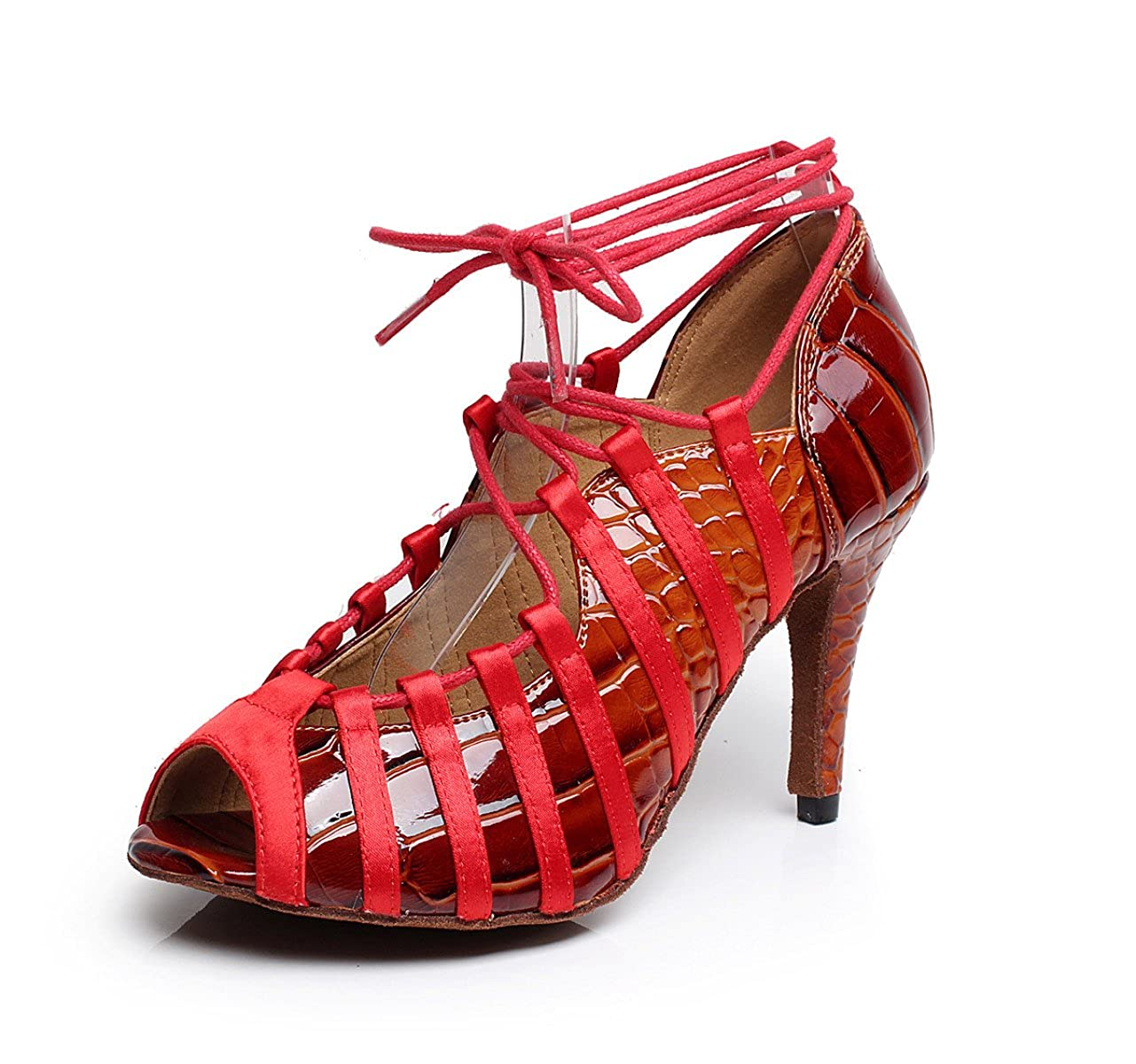 JSHOE Chaussures De PU - Danse Salsa Latin PU Chaussures PU Salsa/Tango/Thé/Samba/Moderne/Jazz Sandales Chaussures Talons Hauts,Red-heeled8.5cm-UK4/EU35/Our36 - 4594ab7 - boatplans.space