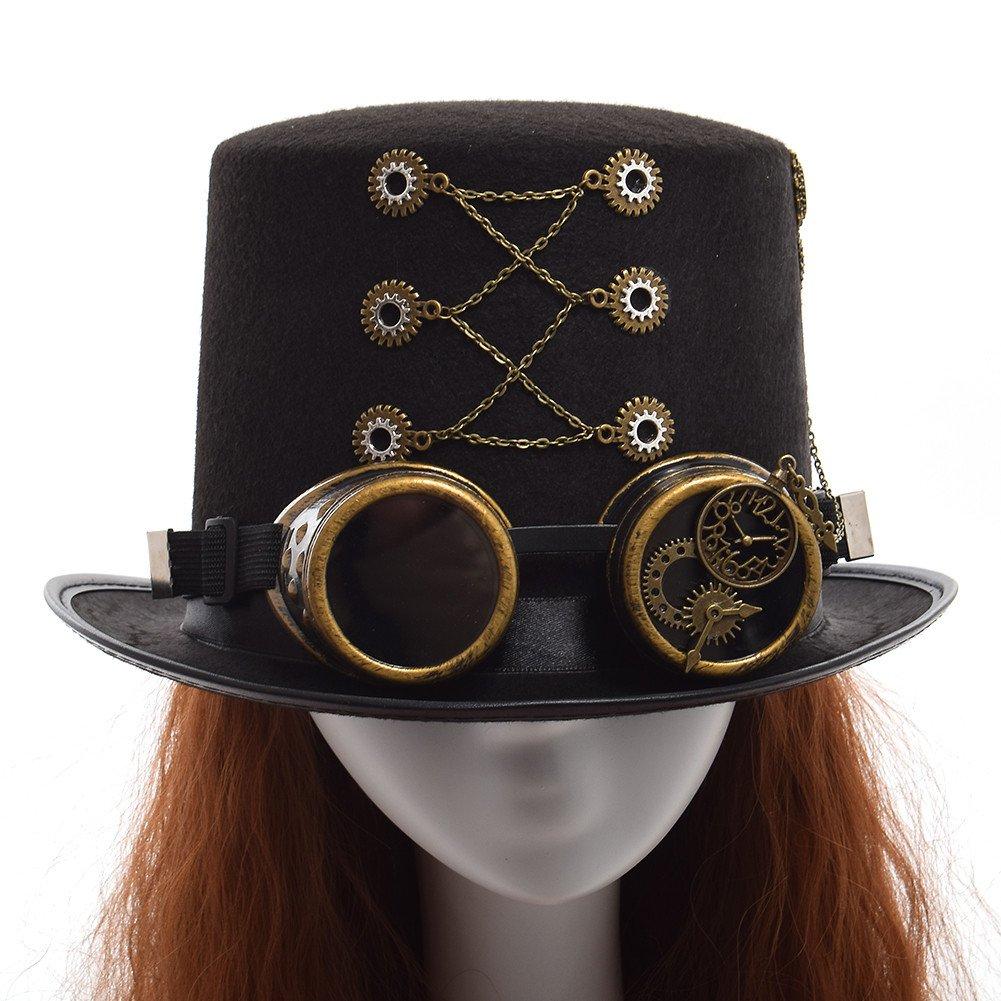 GRACEART Steampunk hacia parte superior sombreros con google  (varios  estilos ) 1610374f3c7