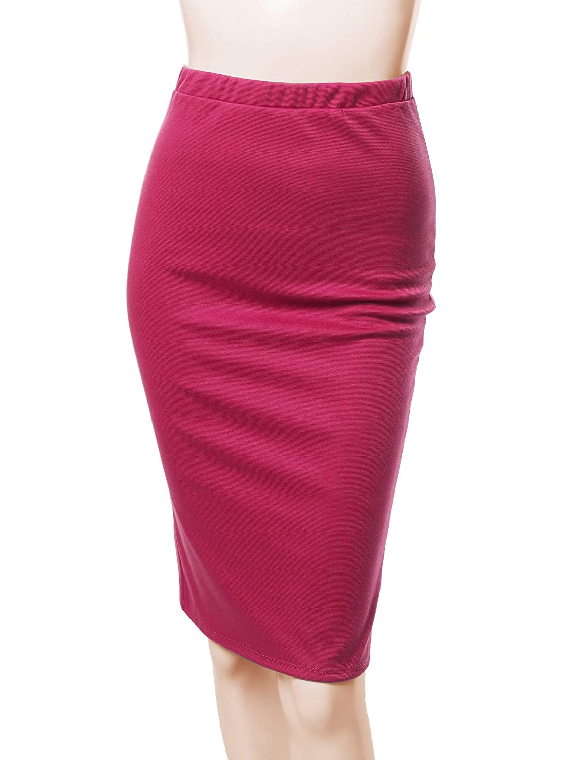 Aawskm0005 Fuchsia Awesome21 Women's Fitted Stretch Solid Print High Waist Midi Pencil Skirt  Made in USA