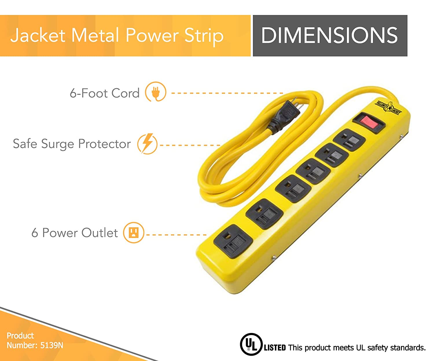Yellow Jacket 5138 15-Foot 6-Outlet Metal Surge Protector Strip Cord 5138N