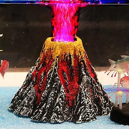 Acuario Aire Piedra Bubbler volcán forma adorno Kit Set con rojo LED Spotlight para decorar Acuario