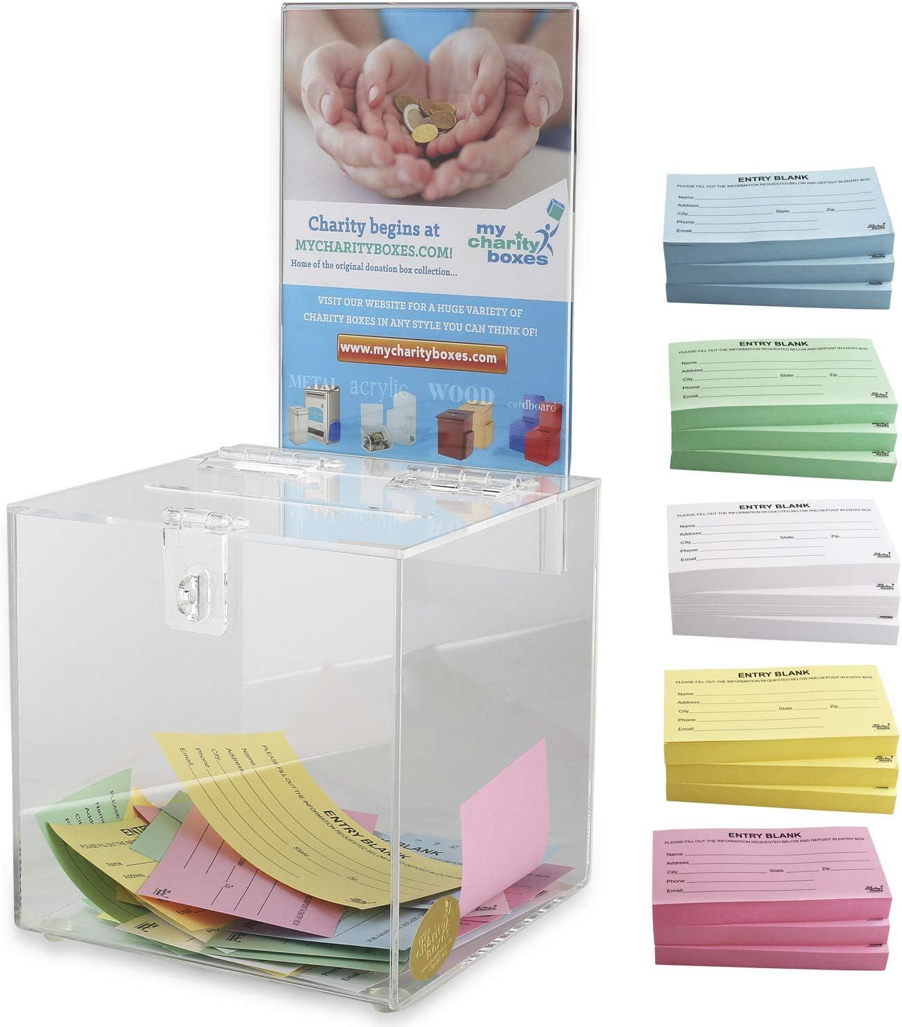 Vorschlagsbox Reklamationsbox mit Schlitz Kunststoff Comment Box durchsichtig, 20,3 x 20,3 cm Acryl Raffle Box mit Schloss und Schildhalter Plexiglas Sammelbox Spende und Wahlurne
