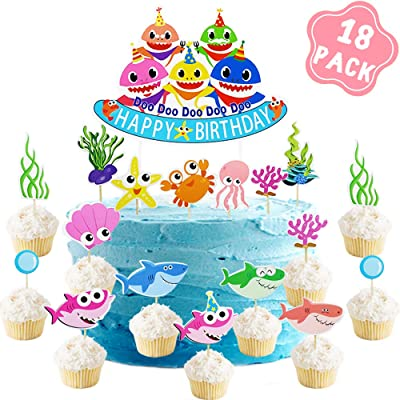 Shark Baby Party Supplies – Cake Topper Birthday Decorations (18Pack) – Sea World Shark Cupcake Toppers for Birthday Anniversary Party: Toys & Games