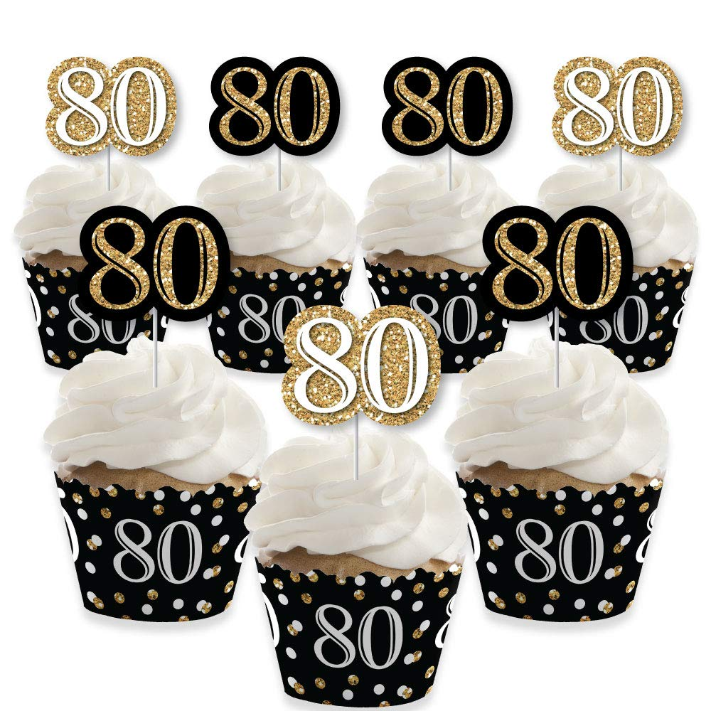 Adult 80th Birthday - Gold - Cupcake Decoration - Birthday Party Cupcake Wrappers and Treat Picks Kit - Set of 24 by Big Dot of Happiness