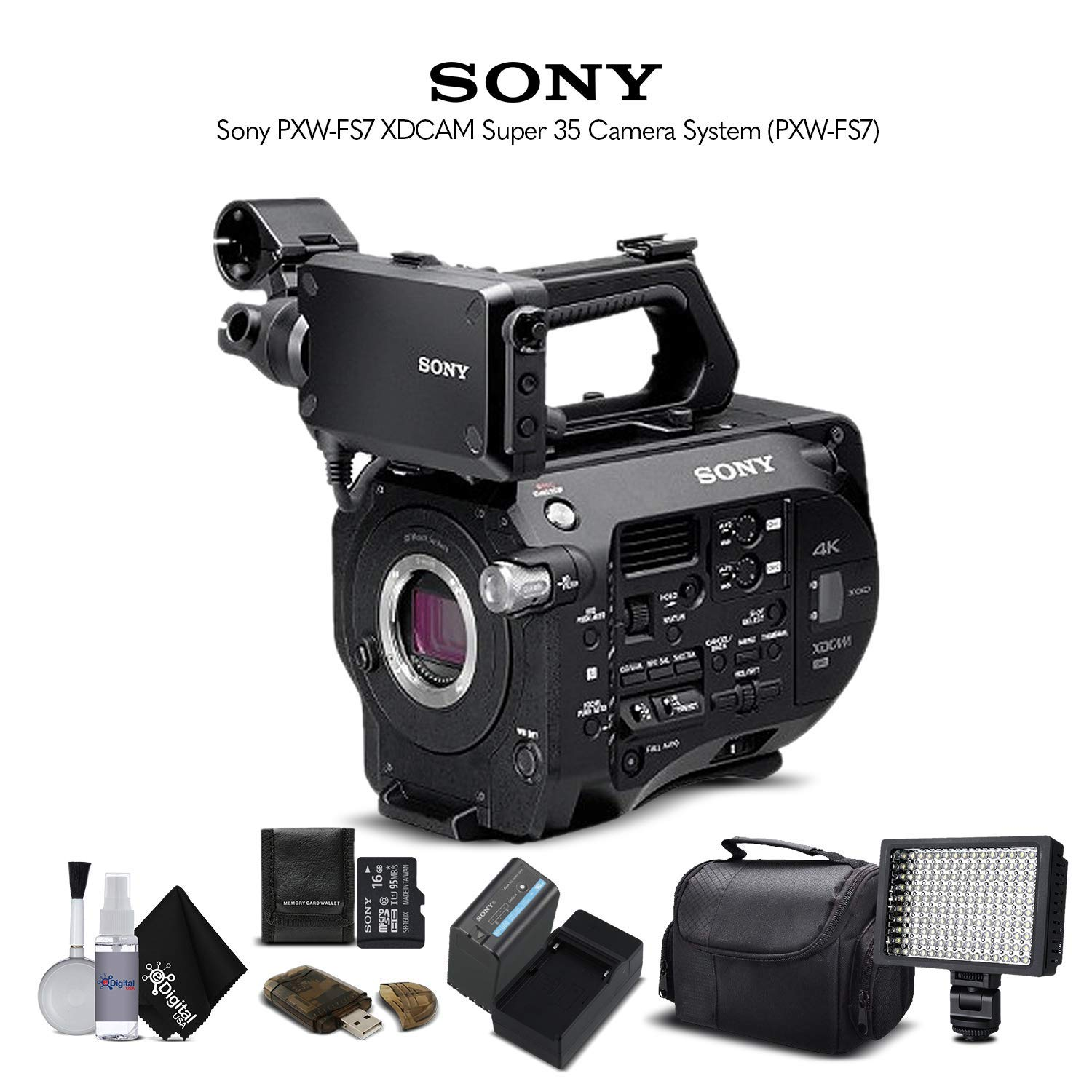 Sony PXW-FS7 XDCAM Super 35 Camera System (PXW-FS7) with Extra Battery, LED Light, Case and More. - Starter Bundle by Mad Cameras
